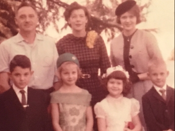 Going to church. Loved that hat!